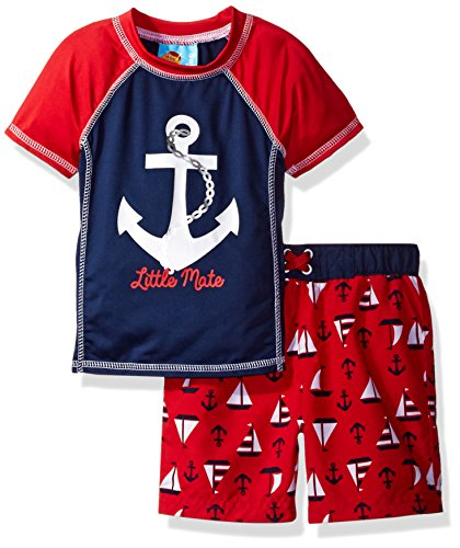 Baby Buns Baby Boys' Sail Away Swim Set Rashguard, Multi, 24M