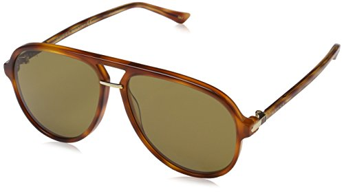 Gucci Men's Brown Havana Retro Aviator Sunglasses 58mm