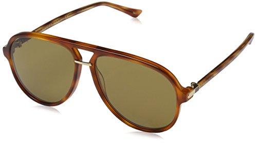 Gucci Men's Brown Havana Retro Aviator Sunglasses 58mm