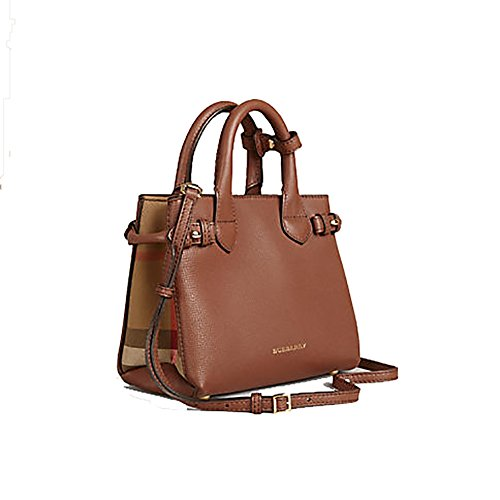 Tote Bag Handbag Authentic Burberry The Baby Banner in Leather and House Check Ink Tan Item