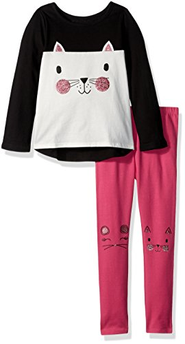 The Children's Place Baby Girls' Top and Leggings Set, Black, 4T