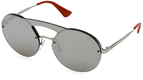 Prada Women's Cinema Round Brow Bar Sunglasses, Silver/Silver, One Size