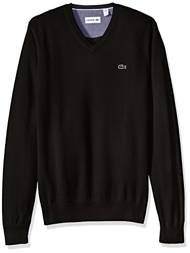Lacoste Men's Cotton Jersey V-Neck Sweater , Black, Medium