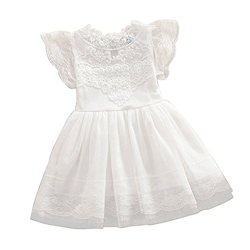 2Bunnies Girls Baby Girls Vintage Lace Eyelet Floral Puff Sleeve Party Princess Pageant Dresses (White, 2T)