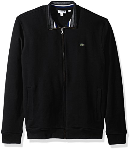 Lacoste Men's Semi Fancy Brushed Pique Fleece Full Zip Sweatshirt, Black/Multi, XX-Large