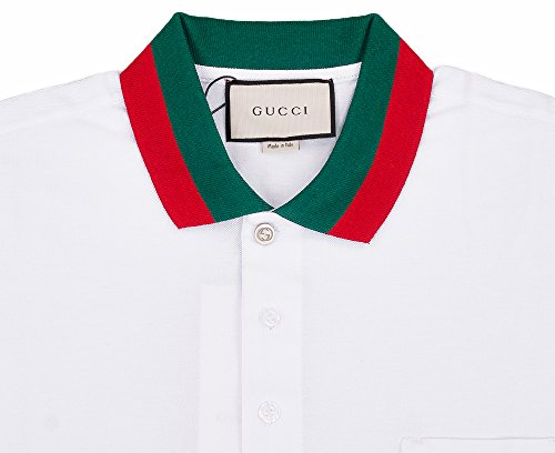 Gucci Mens Polo Shirt White with Green and Red Collar (2XL)