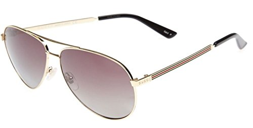 GUCCI Aviator Sunglasses GG S Metal Gold Brown Polarized 61mm