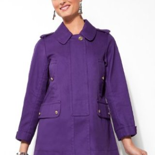 Coach Ladies Balmacaan Purple Overcoat - Size Extra Small