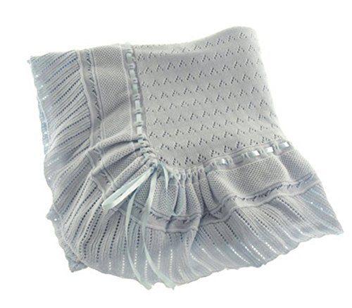 acfc68017 Blue Knit Shawl Blanket Baby Boy Feltman Brothers (Blue) Clout Wear ...
