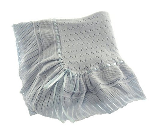 Blue Knit Shawl Blanket Baby Boy Feltman Brothers (Blue)
