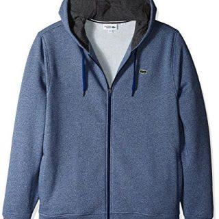 Lacoste Men's Full Zip Hoodie Fleece Sweatshirt, Marino Jaspe/Pitch, X-Large