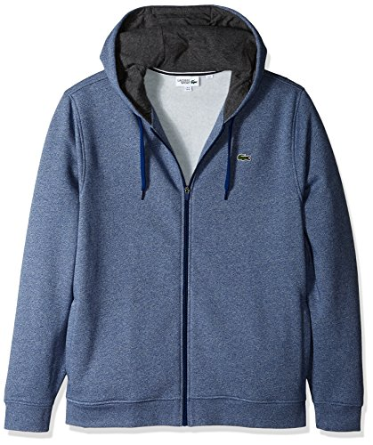 Lacoste Men's Full Zip Hoodie Fleece Sweatshirt, Marino Jaspe/Pitch, X-Large