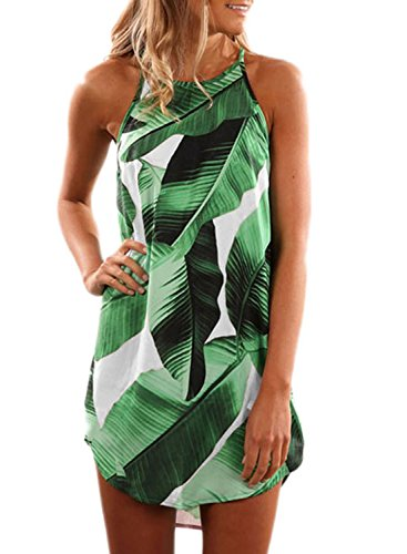 Asvivid Women's Summer Halter Dress Round Neck Sleeveless Floral Print Casual Straps Sundress X-Large Green