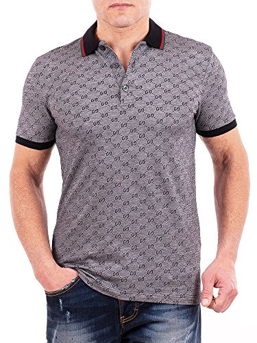 3dc9acf87 Gucci Polo Shirt, Mens Gray Short Sleeve Polo T- Shirt GG Print All Sizes