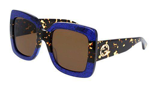 Gucci Blue Havana Brown Sunglasses