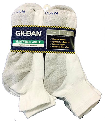 Gildan Heavyweight Ankle 8 Pair Pack Sock;6-12 shoe size;White with Grey Heel