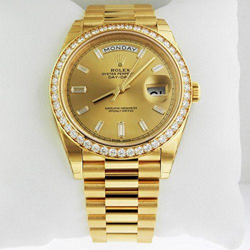 Rolex Day-Date 40 President Yellow Watch Diamond Bezel Baguette Diamond Dial