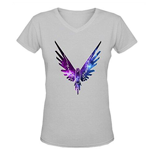 Doppelwalker Maverick Logo T Shirt,Logan Paul Logang YouTube Womens V Neck T-Shirts Grey M