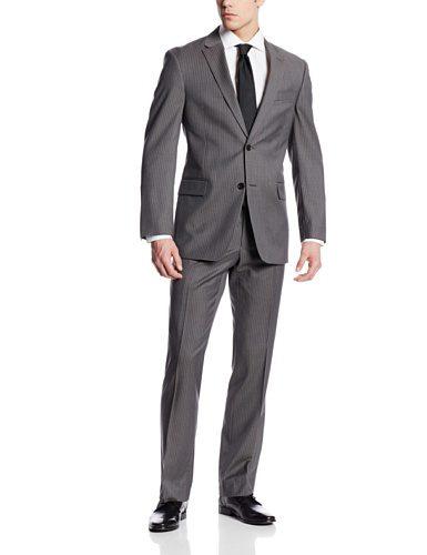 Tommy Hilfiger Men's Nathan Stripe 2 Button Side Vent Suit, Grey, 44 Regular