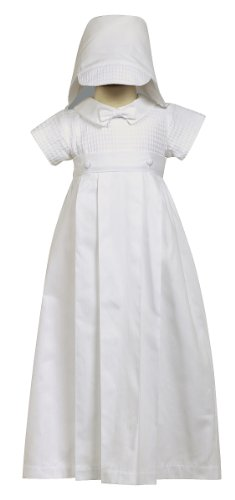 2-piece 100% Cotton White Weaved Romper with Detachable Gown, XS (0-3 months)