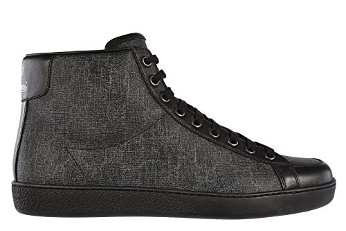 Gucci Men's Shoes high top Leather Trainers Sneakers Supreme miro Black US Size 8 325371 KHN80 1096