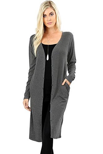 12 Ami Sweater Knit Button-Front Pocket Long Cardigan Charcoal L