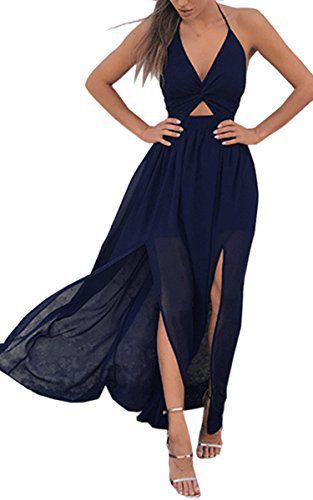 Angashion Women's Dresses-Summer Floral Bohemian Spaghetti Strap Slit Cut Out Swing Maxi Dress Navy Blue S