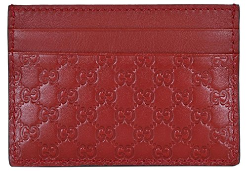 Gucci Leather Micro GG Guccissima Small Card Case (Rosso/Red)