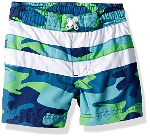 iXtreme Toddler Boys' Camo with Stripe Swim Trunk, Navy, 2T