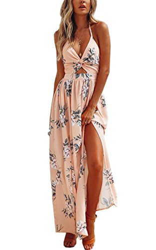 Angashion Women's Dresses-Summer Floral Bohemian Spaghetti Strap Slit Cut Out Swing Maxi Dress Pink M