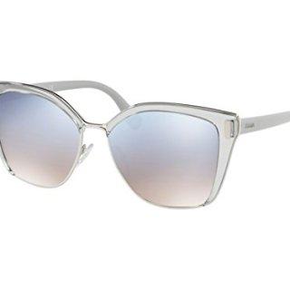 Prada Women's Square Glasses, Grey Silver/Blue Silver, One Size