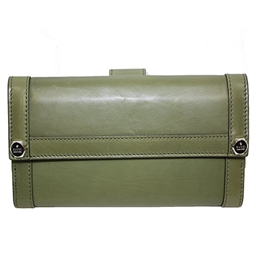 Gucci Leather Continental Flap Wallet, Green
