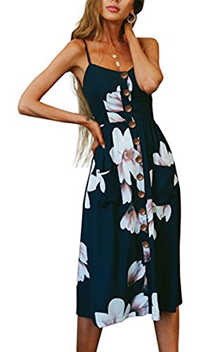 Angashion Women's Dresses-Summer Floral Bohemian Spaghetti Strap Button Down Swing Midi Dress with Pockets O860 Navy Blue S