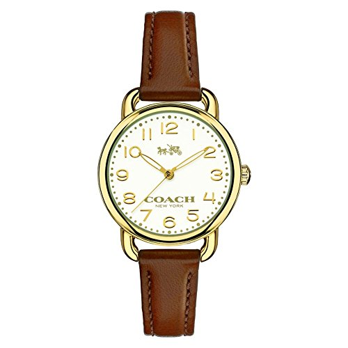 Coach Ladies Delancey Brown Leather Strap Watch