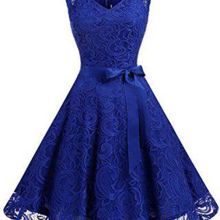 Dressystar Women Floral Lace Bridesmaid Party Dress Short Prom Dress V Neck XXL Royal Blue
