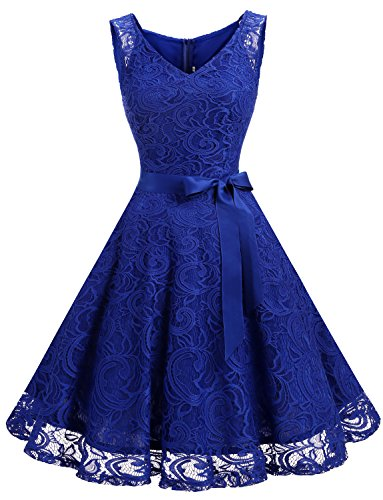 Dressystar Women Floral Lace Bridesmaid Party Dress Short Prom Dress V Neck XXL Royal Blue