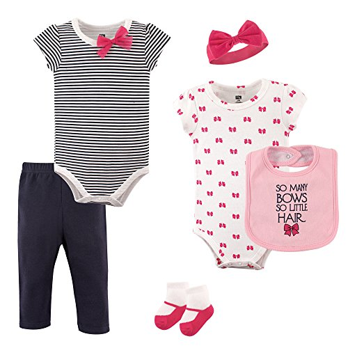 Hudson Baby Baby Multi Piece Clothing Set, Bows 6 Piece, 0-3 Months
