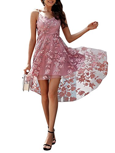 BerryGo Women's Elegant Mesh Embroidered Floral Strap High Waist Midi Dress Pink, M