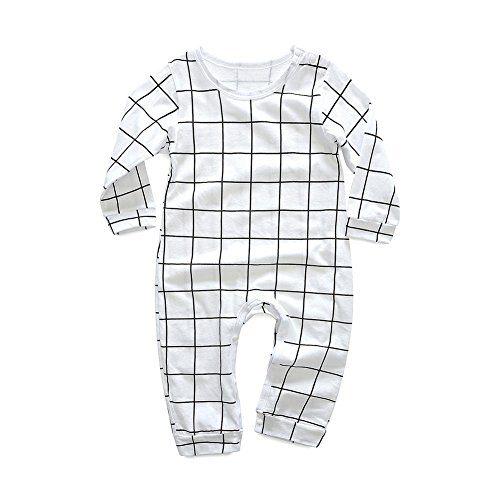 Baywell Baby Newborns Romper, Infant Cute Printed Letter Plaid Tops Onesies Jumpsuit (S/65-70CM/70, White)