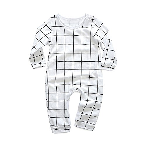 Baywell Baby Newborns Romper, Infant Cute Printed Letter Plaid Tops Onesies Jumpsuit (S/65-70CM/70, White)