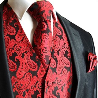 Men's 3pc Paisley Vest (4XL (Chest 56), Red/Black)