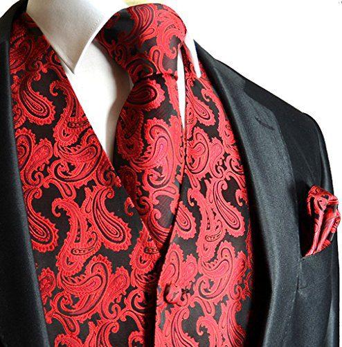 Men's 3pc Paisley Vest (4XL (Chest 56), Red/Black)