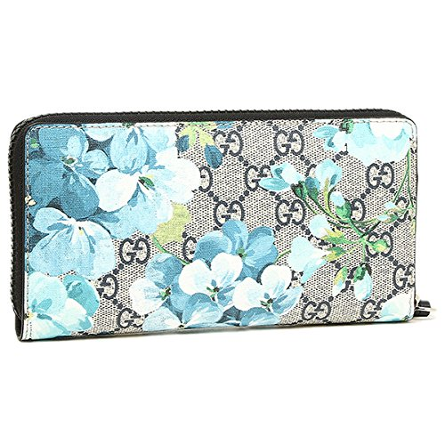 Gucci Blooms Flower Wallet Travel Large Zip around Box Bloom Navy Blue Italy New