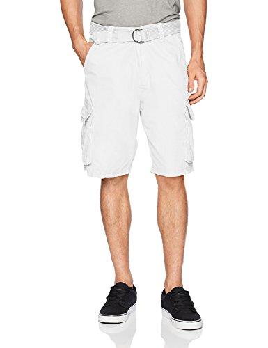 Southpole Men's Mini Canvas Cargo Shorts, White, 36