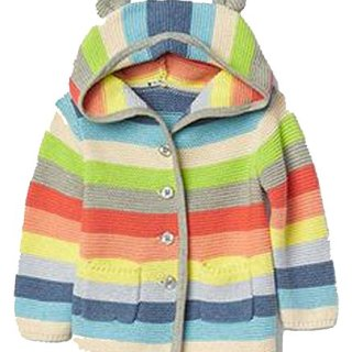 BabyGap Baby Gap Girls Crazy Stripe Bear Hoodie Cardigan Sweater 0-3 Months