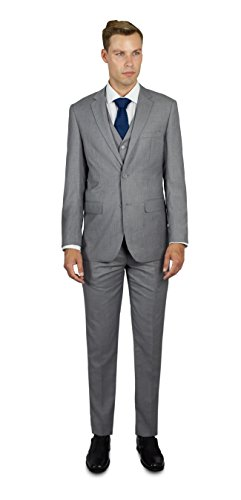Alain Dupetit Men's Three Piece TR Blend Suit 44R Light Grey