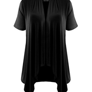 ALL FOR YOU Women's Short Sleeve Draped Open Cardigan Black Large