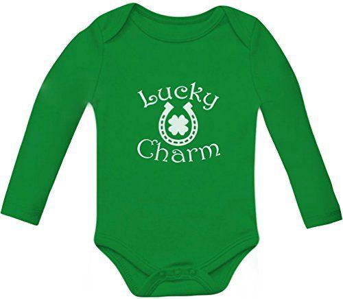 Tstars Lucky Charm St. Patrick's Clover Shamrock - Horseshoe Baby Long Sleeve Bodysuit 6M Green