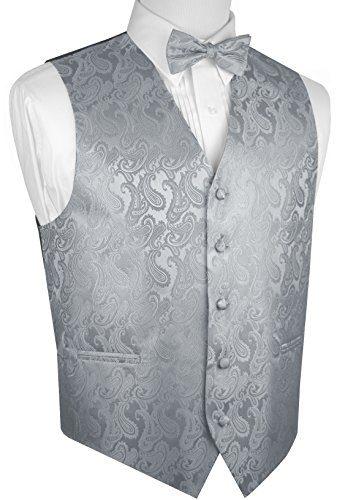 Brand Q Men's Tuxedo Vest and Bow-Tie Set-Silver Paisley-3XL