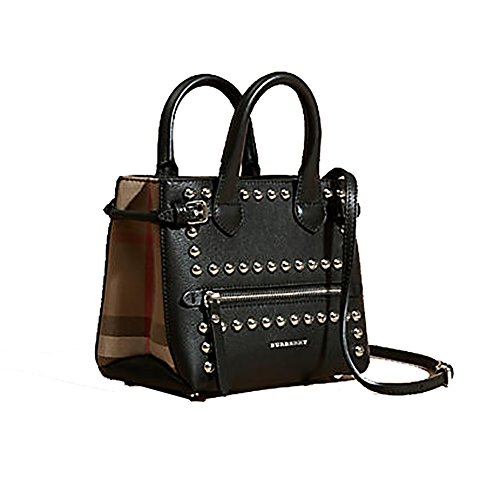 Tote Bag Handbag Burberry The Baby Banner in Studded Leather and House Check Black Item 40123881